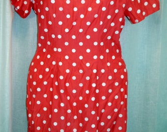 Vintage 80s//Early 90s pink Polka Dress