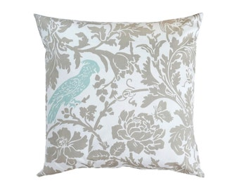 """French Country Blue Pillow Cover. Taupe Throw Pillows.Powder Blue Decorative Pillow.Taupe Pillow Cover.Blue Toss Pillow.18""""x18"""""""