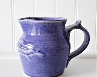 cutest little creamer, hand made pottery creamer, cream jug, small jug, maple syrup jug, ceramic creamer, blue pottery jug, ceramic jug,