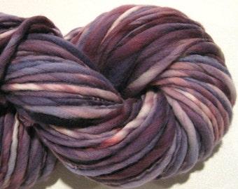 Super Bulky Handspun Yarn Amethyst 124 yards hand dyed wool purple yarn violet yarn waldorf doll hair knitting supplies crochet supplies