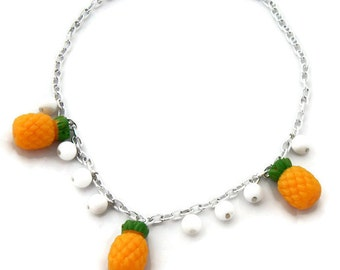 Retro Pineapple Necklace, Rockabilly 50s Inspired, Pinup Fruit Jewelry, Women, Girls, 50s Necklace, 40s Necklace, Plastic Necklace
