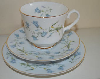 Reduced Pretty English china trio/Snowhite pattern/floral snowdrop design/Newcastle upon Tyne potteries/ships worldwide from UK