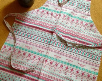 Linen woman apron,  Long apron, Natural apron, Handmade print apron, Scandinavian motifs