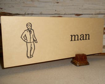 Vintage Man Flashcard, Vintage Flash Cards, Farmhouse