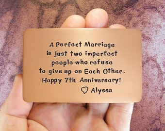Anniversary Gift, Anniversary Card, Gift For Him, Personalized, Hand Stamped, 7th Anniversary