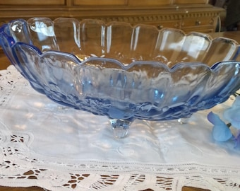 Vintage Pressed Glass Sapphire Blue Serving Bowl, centerpiece bowl, footed, Indiana Glass, Harvest Fruit, paneled rim, shabby chic, gift