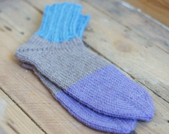 Knitted long socks, high socks, Boot high socks, Wool knit womn socks, Hand knit socks, Winter knit socks, for her, made to order