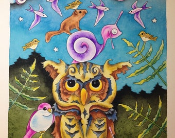 Look for the Rainbows Original Owl Snail Painting