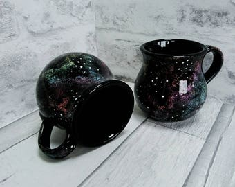 Galaxy Mug, Hand Painted Ceramic, Astronomy cup, Cosmic Mug, Tea Lover mug, Luxury Coffee Mug, Unique Gift, Glazed item, Star Universe Mug