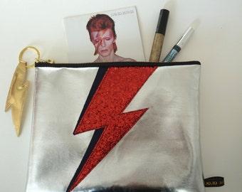 Bowie Silver Lightening Bolt  Zip Purse
