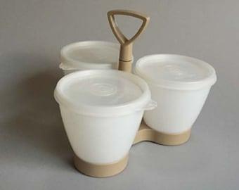 TUPPERWARE CONDIMENT CADDY, kitchen condiment container, Tupperware container, vintage kitchenware, beige & white Tupperware container, gift