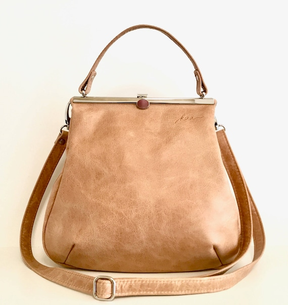 Everyday Bag, Her Leather Bag, Sling Leather Bag, Minimalist Bag Women, Leather Carryall | Brown Leather Handbag with Retro Clip Closure