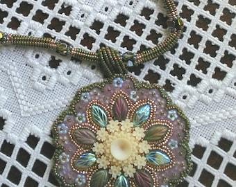 Round Celluloid Pendant Necklace