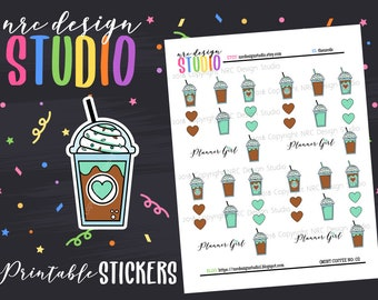 SALE Planner Stickers Printable, Coffee Stickers, Planner Girl Stickers - Mint Coffee No. 02