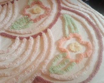 """Chenille Bedspread / Floral Pattern / Vintage / Multi Colored / 94"""" x 105"""" / A MUST!!"""