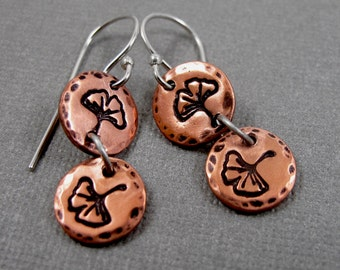 Ginko Leaves Falling - Copper and Sterling Silver Dangle Earrings - Stamped Ginko Leaves