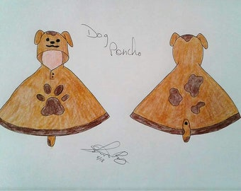 Dog Themed Hooded Poncho