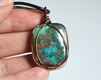Chrysocolla Necklace, Square Stone Necklace, Chrysocolla Jewelry, Calming Stone, Cord Necklace, Spring Jewelry, Wire Wrapping, Wire Jewelry