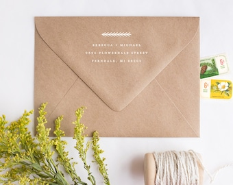 Return Address Stamp - Rubber Stamp with Wooden Handle - Evergreen