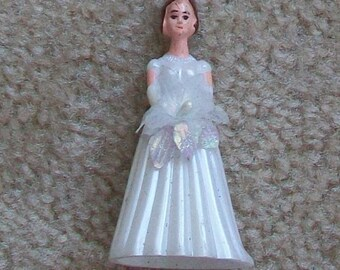 Plastic bride favor, cupcake topper, vintage, two inches