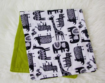 Gender Neutral Print Burp Cloth, Lime Green, Animal Burp Cloth, Zoo Animals Burp Cloth, Baby Burp Cloth, Flannel Burp Cloth for Kids