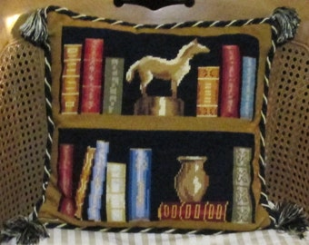 """Needlepoint Pillow Designer Book Lover Tapestry Library Black Gold Red Blue Neutral 16"""" Needlepoint Pillow"""
