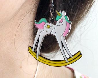Rocking unicorn dangle earrings - cute and pastel!