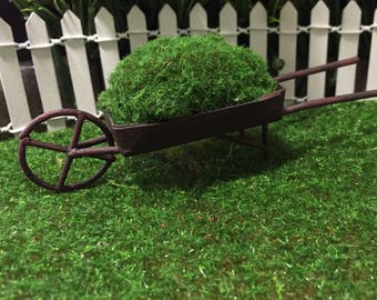 Fairy Garden Rustic Metal Wheel Barrow - Fairy Garden Accessory