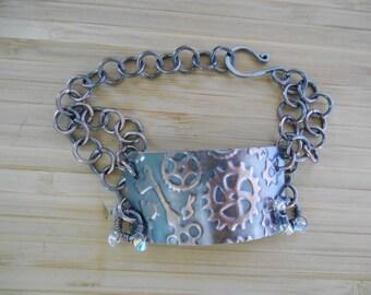 Wire Wrapped Jewelry Handmade Steampunk Embossed Wire Wrapped Copper Sheet Oxidized Copper Wire Wrapped Boho Bracelet Crystal Ab Swarovski