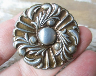 Vintage knob pull new old stock silver and gold tone hardware 1950-60s Hollywood Regency style NOS