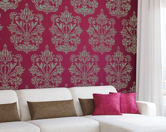 Large Wall Stencil Damask Allover Stencil Heather for Easy DIY Decor