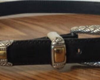 Brighton Black Leather Belt 1990s D433