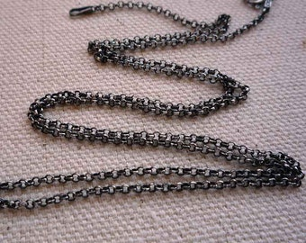 16 inch sterling silver antiqued rollo chain