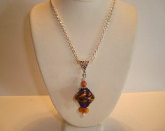 Blue and Orange Artisan Lampwork Beaded Pendant Necklace - Hangs on Bail - Handmade Beads- SRAJD - Handmade Pendant - One of a Kind -