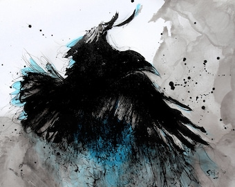 Raven art - A3 - 16x12in  - abstract bird painting - turquoise feathers