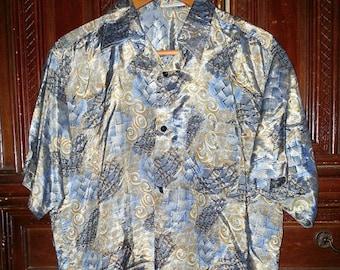 Vintage Mens Metallic Hawaiian  Shirt Size Large