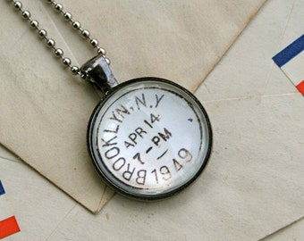 Brooklyn Vintage Postmark Necklace - Vintage Postage Brooklyn New York - Brooklyn Necklace - Brooklyn Jewelry