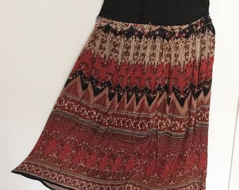 Ethnic Indian print skirt in rust, cream and black, XL
