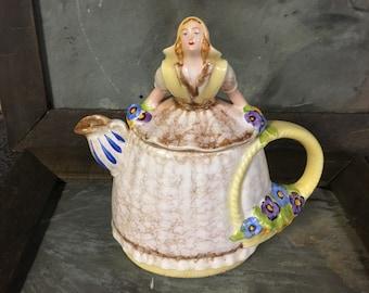 Vintage Unique Dutch Flower Girl Teapot