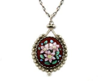 Dot necklace Minimal necklace charm Little flower necklace Teardrop pendant long necklace Simple flower necklace Minimal necklace silver