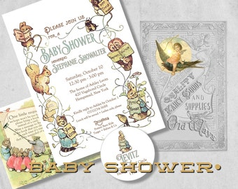 Beatrix Potter Storybook Baby Shower Invitation - Gender Neutral Vintage Baby Shower Invites with Bring A Book Insert & Address Labels