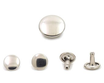 100 pcs Silver Tone Double Cap Rivets Studs Double Sided Rivets Leather Crafts Fashion Decor DIY Findings Supplies 9 mm. DBC 9WY