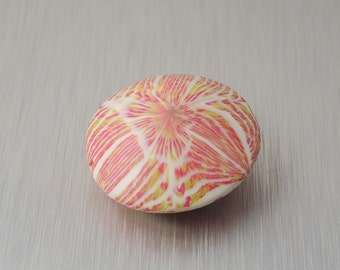Polymer Clay Lentil Bead - Rose Pink and Charteuse