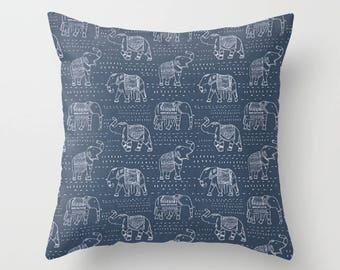 Elephant Pillow Cover Navy Pillow India Pillow Decorative Pillow Size Choice