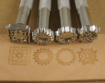 Spiral Designs Leather Stamp Set - Set of Four Metal Stamps