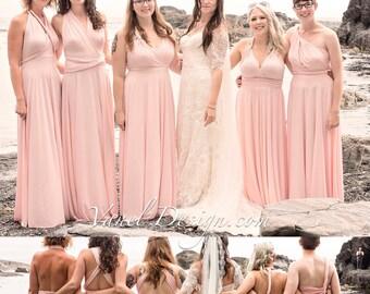 BLUSH Bridesmaid Dress INFINITY Convertible Short Long Bridesmaids Custom Designed Bridesmaids Dress Long Blush Wrap dress Prom dress