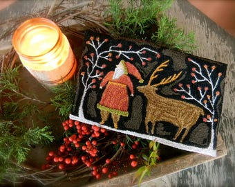 Santa Deer ~ Punch Needle Pattern from Notforgotten Farm™ ~ Paper/Mailed