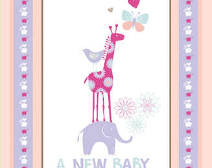 New Baby Flannel Cotton Panel Designed by Fresh Designs for Henry Glass. Panel measures about 23'' x 43''