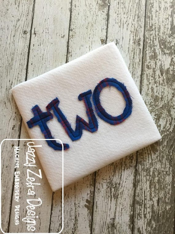 Two word shabby chic appliqué embroidery design - two appliqué design - 2 appliqué design - birthday appliqué design - 2nd birthday appliqué