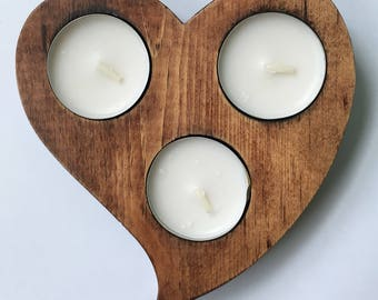 Distressed Pine Tea Light Candle Stand.  Heart Motif.